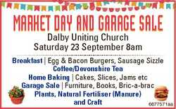 MarketDalby DayUniting anD GaraGe Sale Church Saturday 23 September 8am Breakfast | Egg & Bacon...