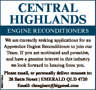CENTRAL HIGHLANDS ENGINE RECONDITIONERS 6680708aa We are currently seeking applications for an Ap...