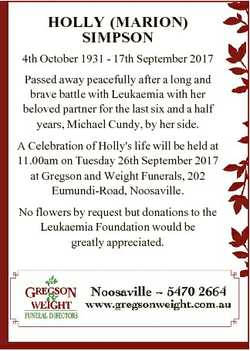 HOLLY (MARION) SIMPSON 4th October 1931 - 17th September 2017 Passed away peacefully after a long an...