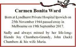 Carmen Bonita Ward Born at Lyndhurst Private Hospital Ipswich on 25th November 1944 passed away in M...