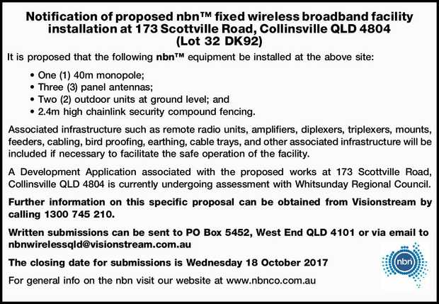 It is proposed that the following nbn™ equipment be installed at the above site:  ...