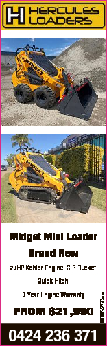 Midget Mini Loader Brand New 23HP Kohler Engine, G.P Bucket, FROM $21,990 0424 236 371 6663250aa Qui...