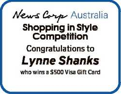 Shopping in Style Competition Congratulations to Lynne Shanks who wins a $500 Visa Gift Card