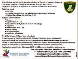 Chanel College is a Catholic Co-educational College for Years 7 -12 located in Gladstone. The Colleg...