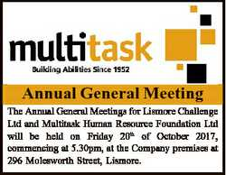 Annual General Meeting The Annual General Meetings for Lismore Challenge Ltd and Multitask Human Res...