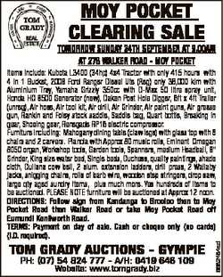 MOY POCKET CLEARING SALE TOMORROW SUNDAY 24TH SEPTEMBER AT 9.00AM AT 278 WALKER ROAD - MOY POCKET TO...