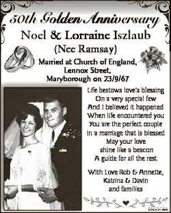 50th Goolden Annivversary Noel & Lorraine Iszlaub I (Nee Ramsay) Married at Church of England, L...