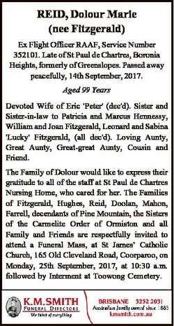 REID, Dolour Marie (nee Fitzgerald) Ex Flight Officer RAAF, Service Number 352101. Late of St Paul d...