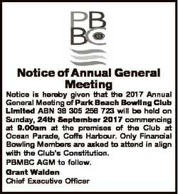 Notice of Annual General Meeting Notice is hereby given that the 2017 Annual General Meeting of Park...