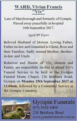 """WARD, Vivian Francis """"Viv"""" Late of Maryborough and formerly of Gympie. Passed away peacefu..."""