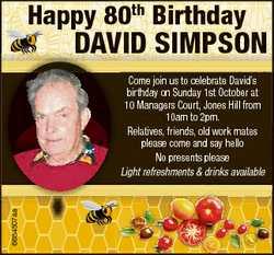 Happy 80th Birthday DaviD SimpSon 6684507aa Come join us to celebrate David's birthday on Sunday...