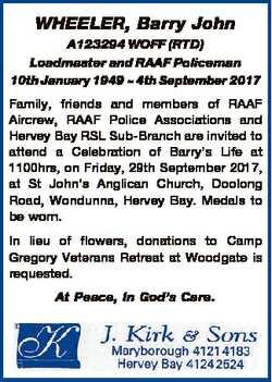 WHEELER, Barry John A123294 WOFF (RTD) Loadmaster and RAAF Policeman 10th January 1949  4th Septembe...