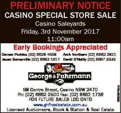 PRELIMINARY NOTICE CASINO SPECIAL STORE SALE Casino Saleyards Friday, 3rd November 2017 11:00am Earl...