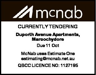 Duporth Avenue Apartments, Maroochydore Due 11 Oct McNab uses Estimate One estimating@mcnab.net.a...