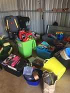 Bric-a-brac, toys, camping gear, tools, electrical, furniture, women's clothing, books, shelving, kitchen items