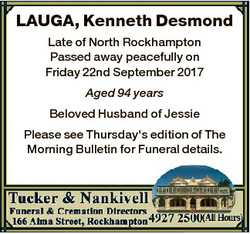 LAUGA, Kenneth Desmond Late of North Rockhampton Passed away peacefully on Friday 22nd September 201...