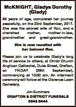 McKNIGHT, Gladys Dorothy (Glady) 95 years of age, completed her journey peacefully, on the 23rd Sept...