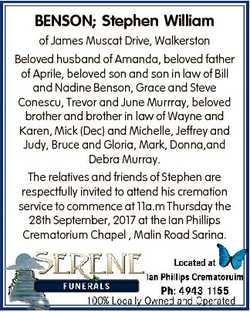 BENSON; Stephen William of James Muscat Drive, Walkerston Beloved husband of Amanda, beloved father...