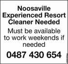 Noosaville Experienced Resort Cleaner Needed