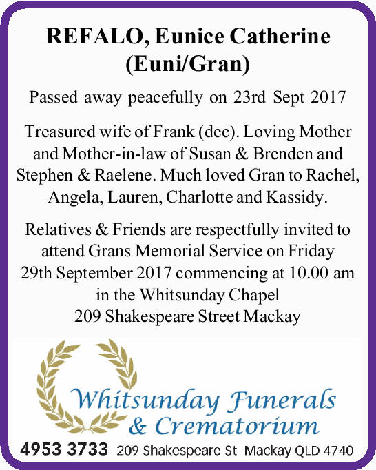 Passed away peacefully on 23rd Sept 2017