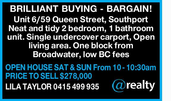 Unit 6/59 Queen Street, Southport   Neat and tidy 2 bedroom, 1 bathroom unit.   Single un...