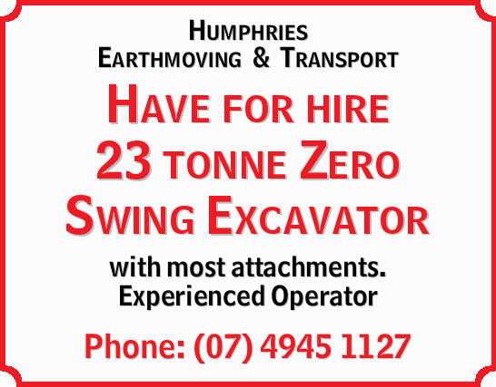 Have for hire 23 tonne Zero Swing Excavator with most attachments.   Experienced Operator  ...