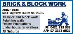BRICK & BLOCK WORK Arthur Strati QBCC Registered Builder No. 045016 All Brick and block work...