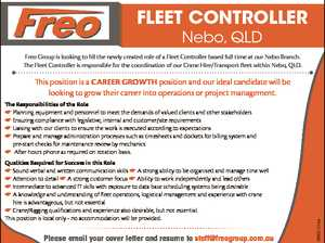 FLEET CONTROLLER Nebo, QLD Freo Group is looking to fill the newly created role of a Fleet Controller based full time at our Nebo Branch. The Fleet Controller is responsible for the coordination of our Crane Hire/Transport fleet within Nebo, QLD. This position is a CAREER GROWTH position and ...
