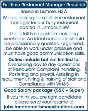 Full-time Restaurant Manager Required