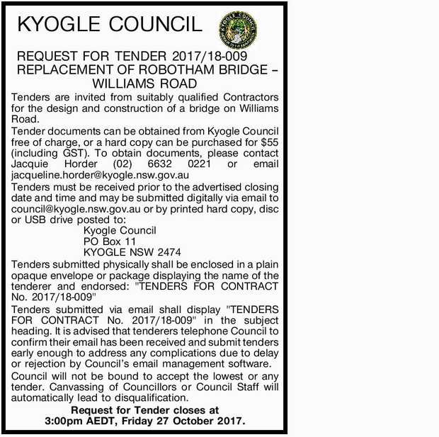KYOGLE COUNCIL REQUEST FOR TENDER 2017/18-009 ROBOTHAMS BRIDGE REPLACEMENT DESIGN AND CONSTRUCT T...