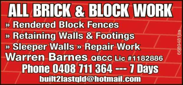 Rendered Block Fences   Retaining Walls And Footings   Sleeper Walls   Repair Work ...