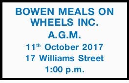 11th October 2017 17 Williams Street 1:00p.m.