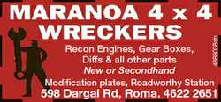 MARANOA 4 x 4 WRECKERS Recon Engines, Gear Boxes, Diffs & all other parts New or Secondhand M...