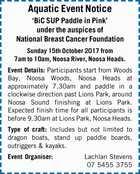 Aquatic Event Notice 'BiC SUP Paddle in Pink'