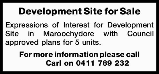 Expressions of Interest for Development Site in Maroochydore   with Council approved pl...