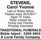 STEVENS, Carol Yvonne
