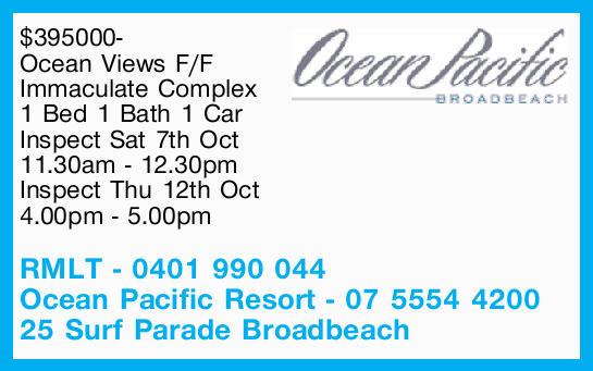 Ocean Views F/F   Immaculate Complex   1 Bed 1 Bath 1 Car   Inspect Sat 7th Oct 11.30...