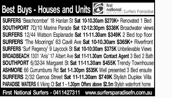 SURFERS `Beachcomber' 18 Hanlan St Sat 10-10.30am $270K+ Renovated 1 Bed   SOUTHPORT 7D/1...