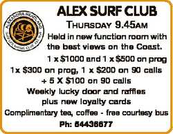 ALEX SURF CLUB THURSDAY 9.45AM Held in new function room with the best views on the Coast. 1 x $1...