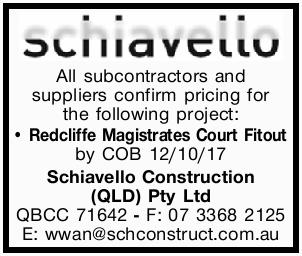 Confirm pricing for the following project: Redcliffe Magistrates Court Fitout by COB 12/10/17  ...