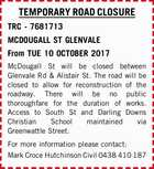 TEMPORARY ROAD CLOSURE TRC - 7681713 MCDOUGALL ST GLENVALE