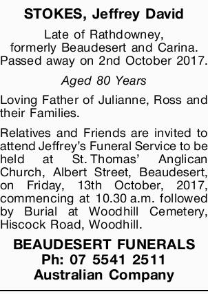 Late of Rathdowney, formerly Beaudesert and Carina.   Passed away on 2nd October 2017.   ...