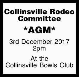 *AGM* 3rd December 2017 2pm At the Collinsville Bowls Club
