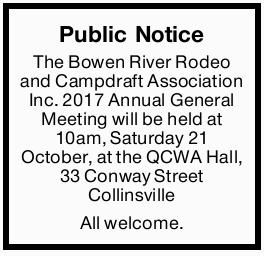The Bowen River Rodeo and Campdraft Association Inc. 2017