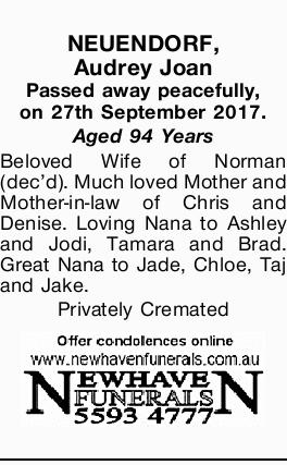 Passed away peacefully, on 27th September 2017. Aged 94 Years Beloved Wife of Norman (dec'd)....