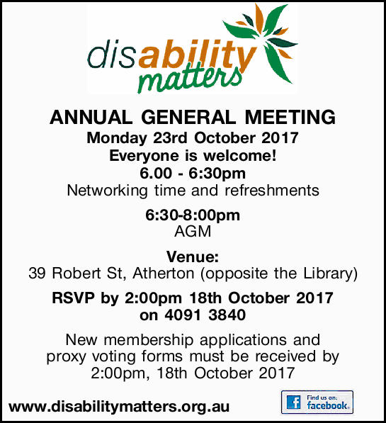 ANNUAL GENERAL MEETING Monday 23rd October 2017 Everyone is welcome! 6.00 - 6:30pm Networking tim...