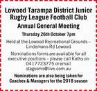 Lowood Tarampa District Junior Rugby League Football Club Annual General Meeting