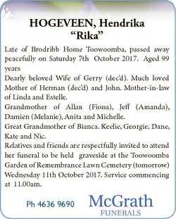 "HOGEVEEN, Hendrika ""Rika"" Late of Brodribb Home Toowoomba, passed away peacefully on Satur..."