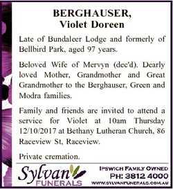 BERGHAUSER, Violet Doreen Late of Bundaleer Lodge and formerly of Bellbird Park, aged 97 years. Belo...