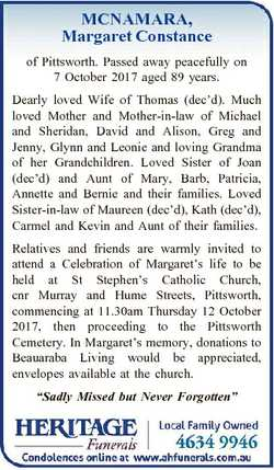 MCNAMARA, Margaret Constance of Pittsworth. Passed away peacefully on 7 October 2017 aged 89 years....